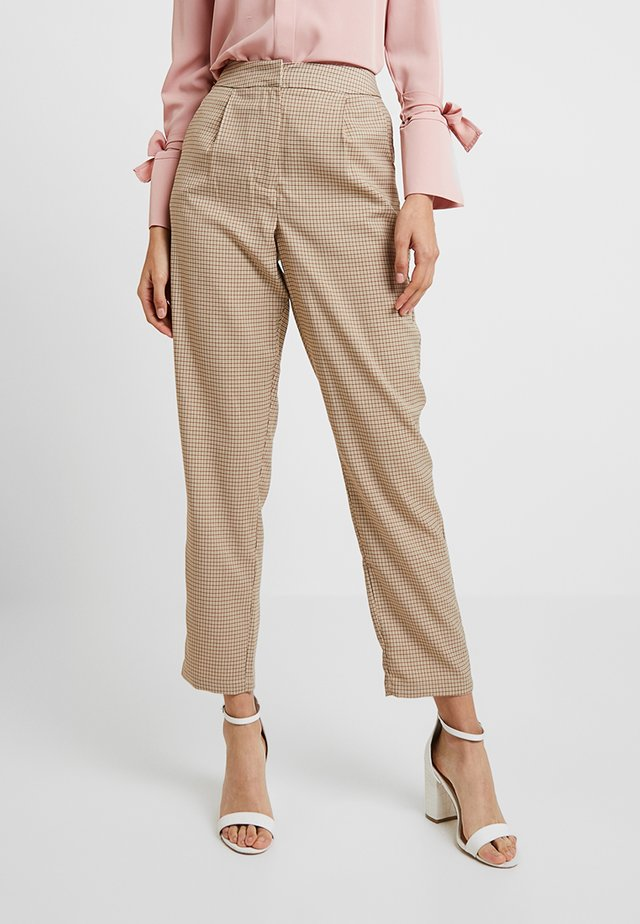 CHECK SUIT TROUSERS - Trousers - brown