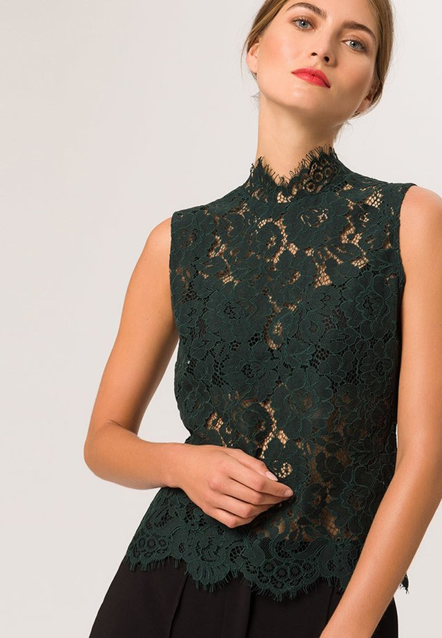 STAND UP COLLAR - Blouse - bottle green