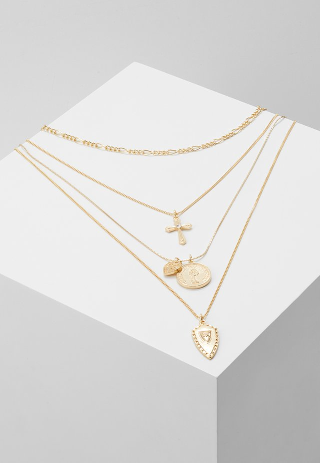 CROSS HEART COIN CHARM - Necklace - gold-coloured