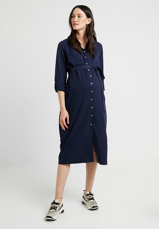 PLAIN LONG SLEEVE DRESS - Skjortklänning - navy