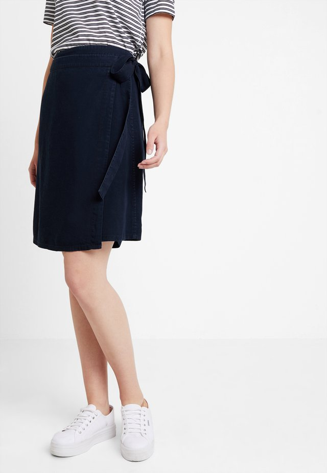 WRAP SKIRT SHORT LENGTH - A-line skirt - blue denim