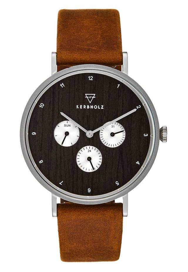 CASPAR - Montre à aiguilles - silver-coloured/darkwood/cognac