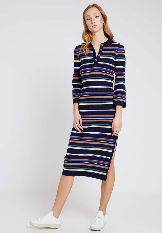 POLO NECK STRIPE DRESS - Vestido de punto - navy/ivory/purple/orange