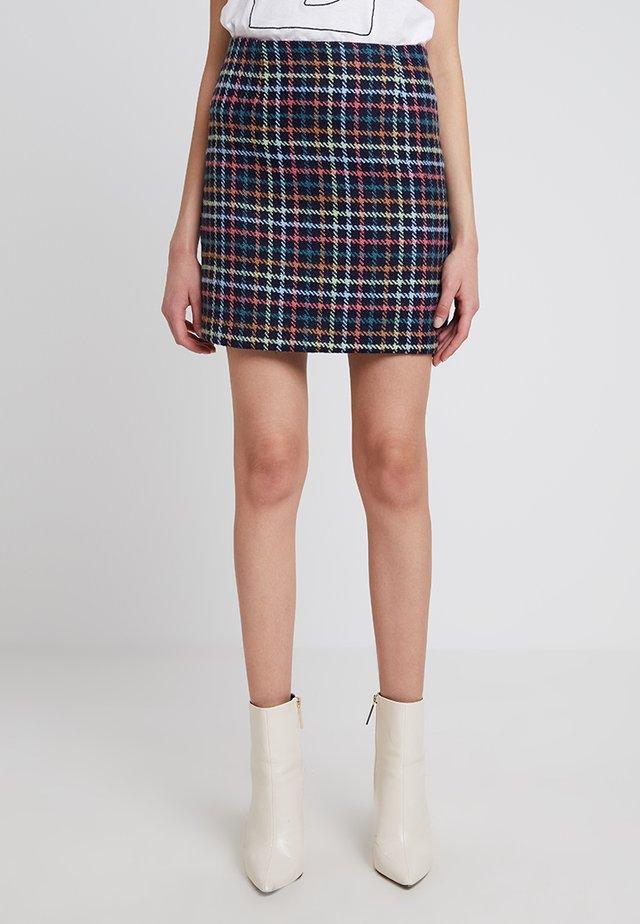 MIA BRUSHED CHECK MINI - Mini skirt - blue