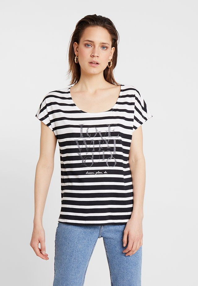 Print T-shirt - black/cream