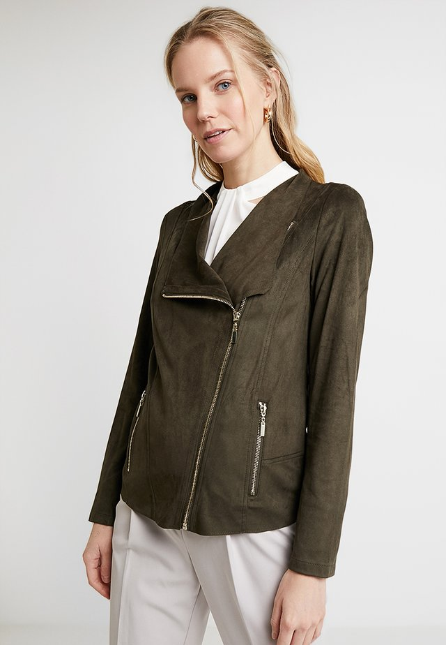 ZIP JACKET - Faux leather jacket - khaki