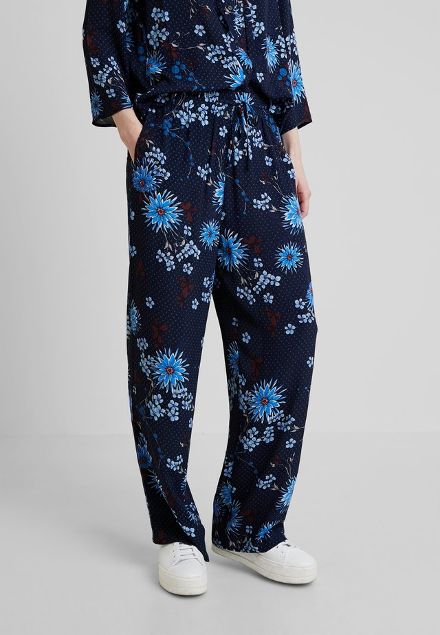 PANTS REGULAR BUT COMFY FIT WIDE - Trousers - mottled blue