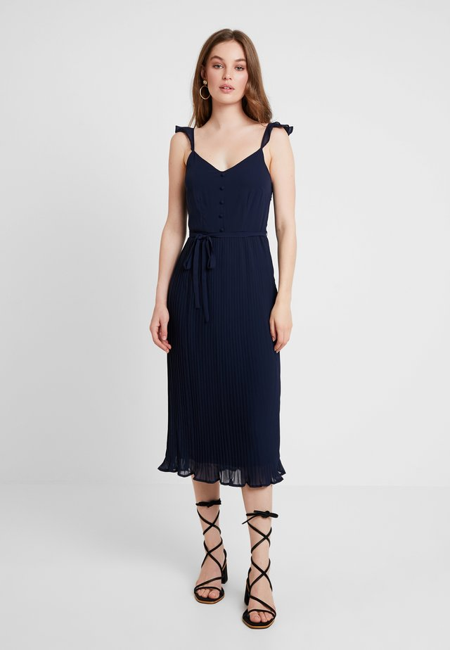 PLEAT BUTTON MIDI - Vestito estivo - navy