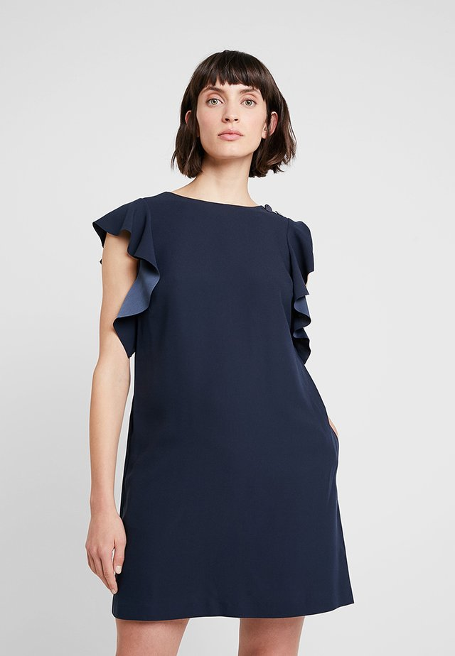 RUFFLE SOLID SHIFT - Sukienka letnia - preppy navy
