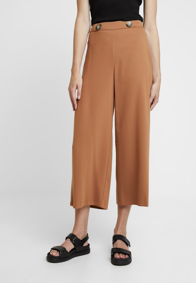 CROP WIDE LEG - Trousers - light brown