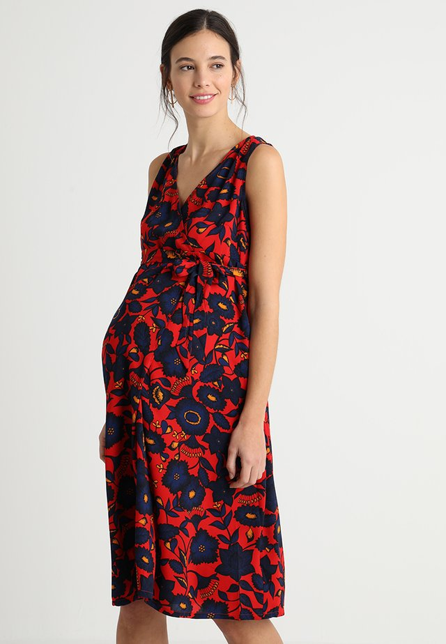 FLORAL WRAP TIE DRESS - Day dress - red