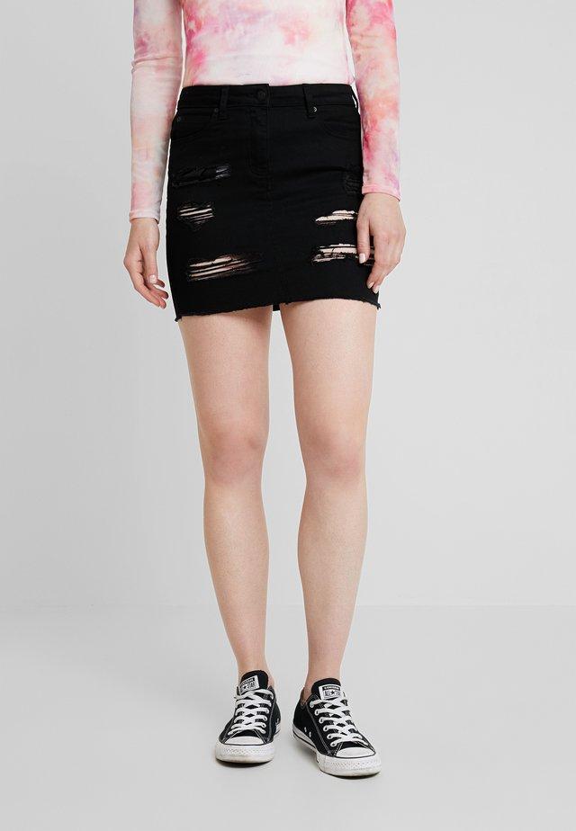 EXTREME RIPPED SKIRT - Denim skirt - black