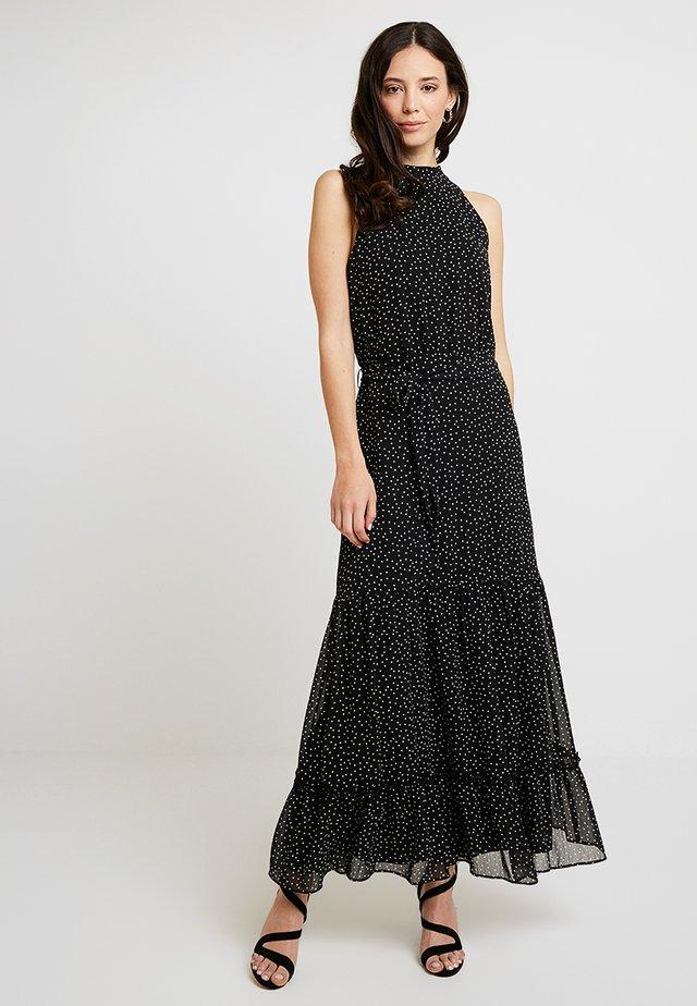 POLKA DOT TIERED HALTER DRESS - Maxi dress - black