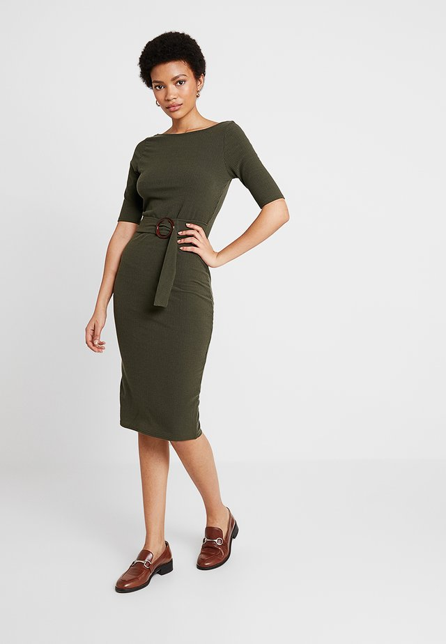 SCOOP BACK BELTED BODYCON - Jersey dress - khaki