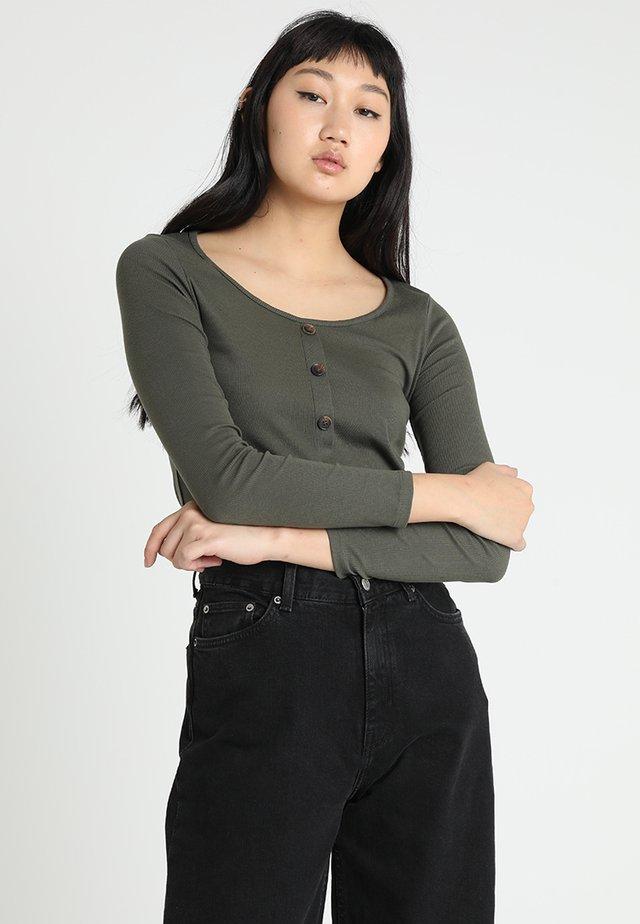 BUTTON THROUGH - Maglietta a manica lunga - khaki
