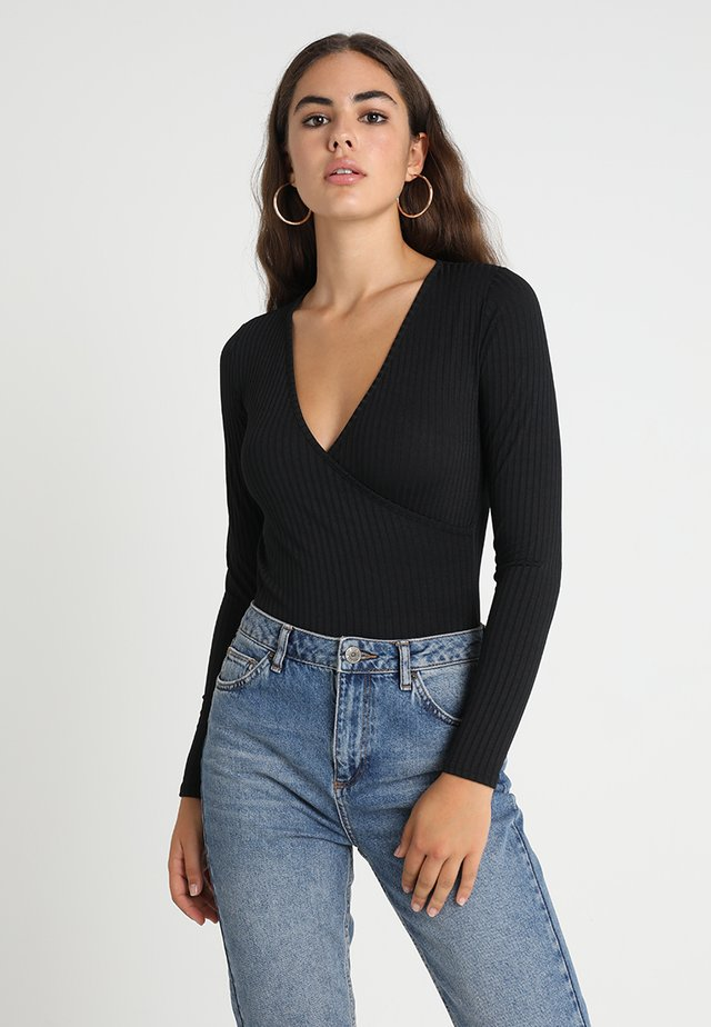 CARLY LONG SLEEVE WRAP BODY - Pitkähihainen paita - black