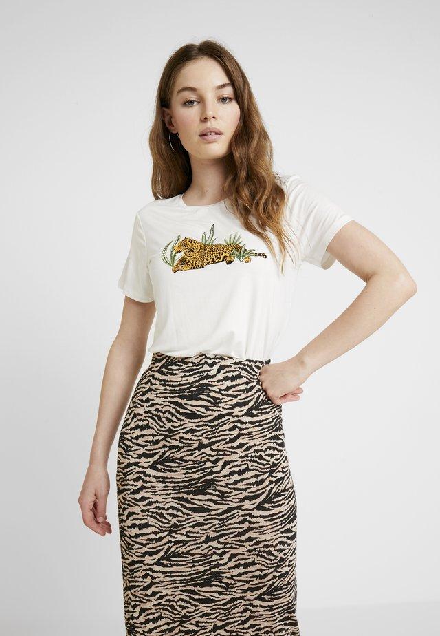 LEOPARD MOTIF TEE - T-shirt print - cream