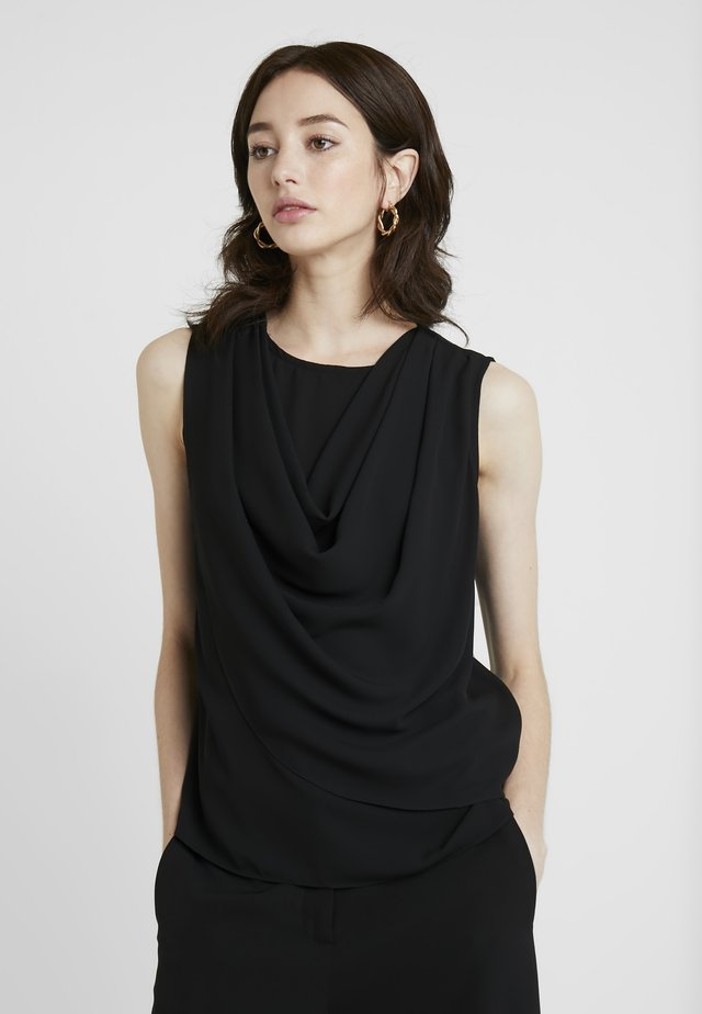 SLEEVELESS COWL NECK - Blůza - black
