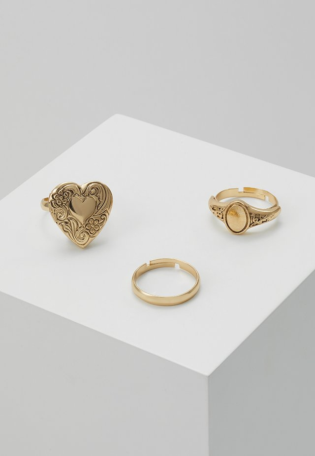 HEART LOCKET RING 3 PACK - Ring - gold-coloured