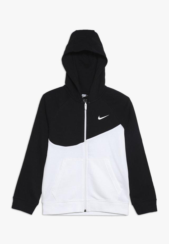 HOODIE  - Zip-up hoodie - white/black