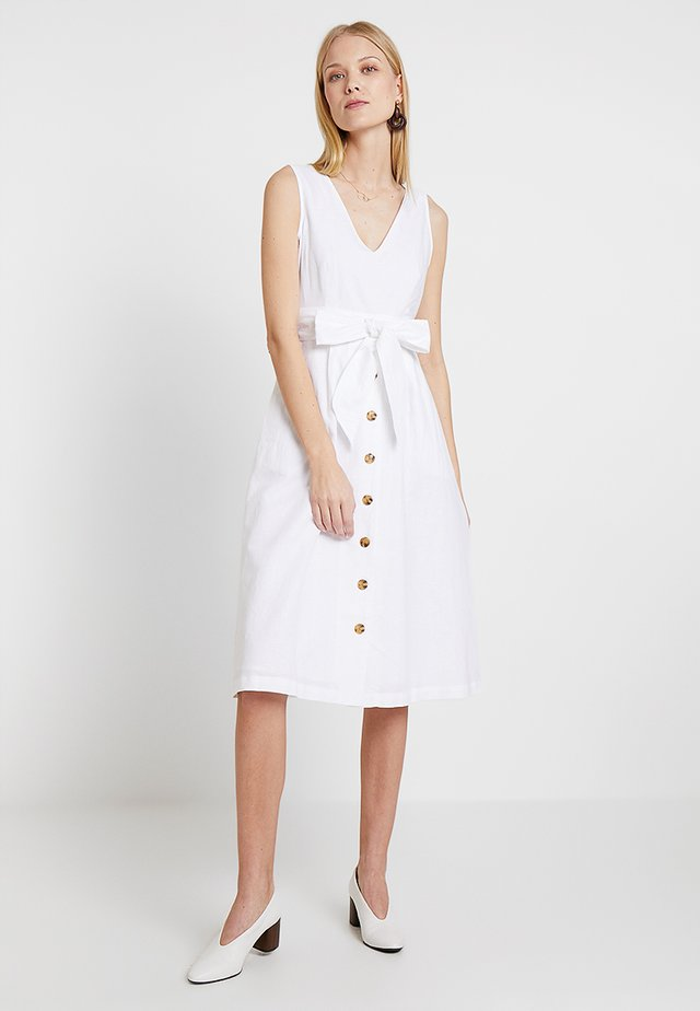 BUTTON DOWN MIDI DRESS - Vestito estivo - optic white
