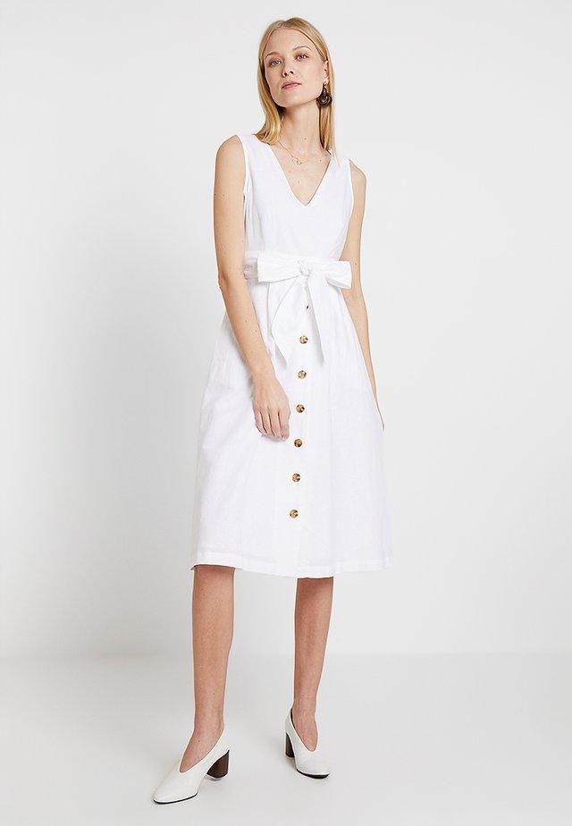 BUTTON DOWN MIDI DRESS - Day dress - optic white