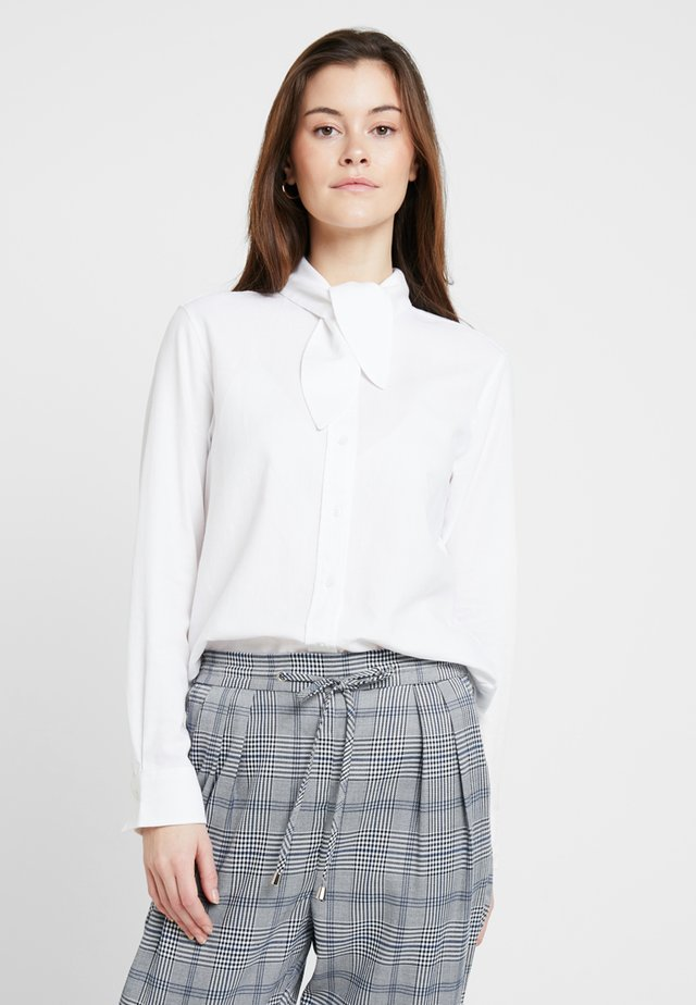 BLOUSE TIE NECK BUTTON PLACKET - Button-down blouse - white