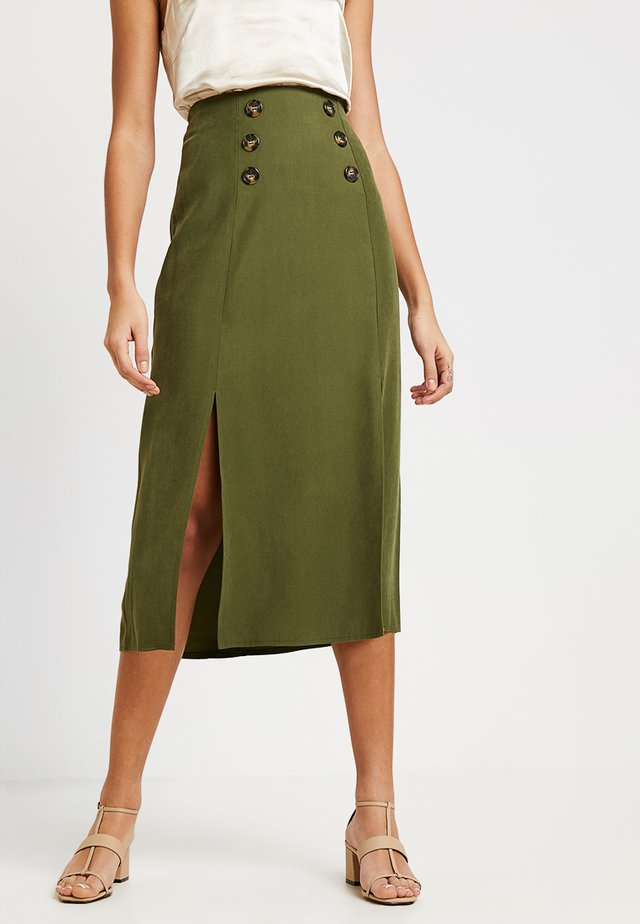 CUPRA BUTTON SKIRT - Gonna a campana - khaki
