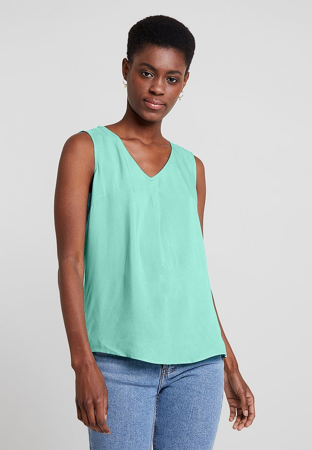 SLEEVELESS BLOUSE WITH V NECK - Blusa - green