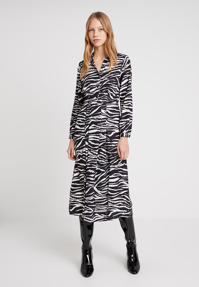 ZEBRA SPLIT DRESS - Shirt dress - black