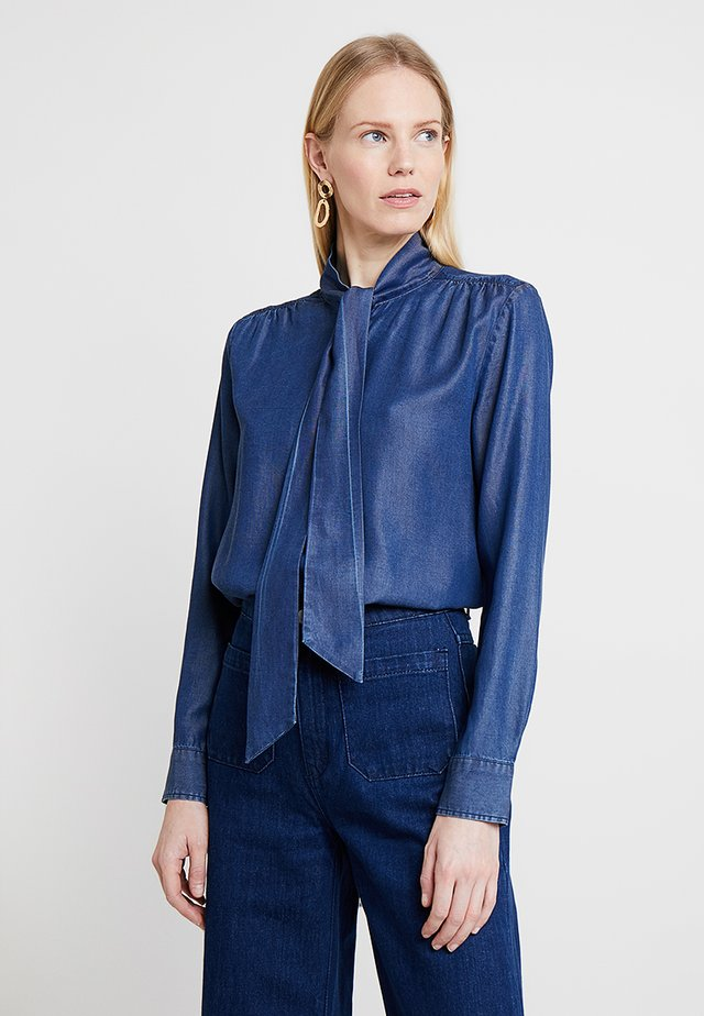 CHAMBRAY BOW BLOUSE - Button-down blouse - dark indigo
