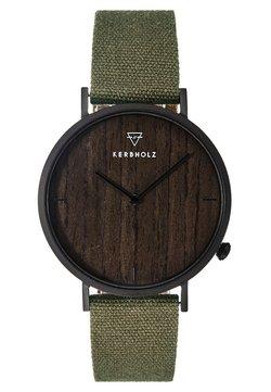 HENRI - Uhr - black/darkwood/olive