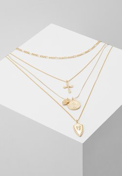 CROSS HEART COIN CHARM - Halsband - gold-coloured