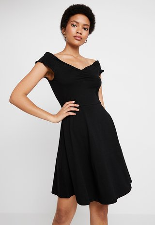 RUCHED SWEET HEART BARDOT - Jerseykleid - black