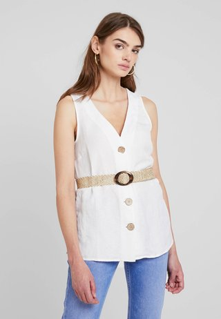 KIMMY BELTED TOP - Bluse - white