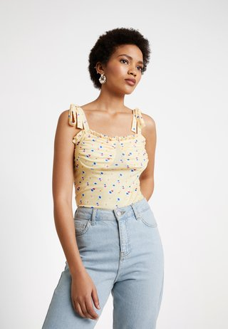 PRINTED TIE SHOULDER - Top - lemon
