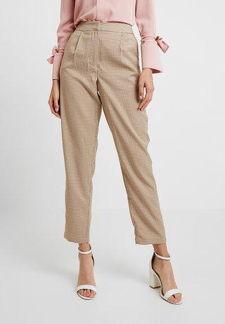 CHECK SUIT TROUSERS - Stoffhose - brown