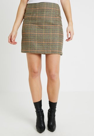 CHECK CALEB BRUSHED SKIRT - Minigonna - brown