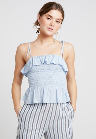 PLAIN SHIRRED BODY FRILL CAMI - Bluse - light blue