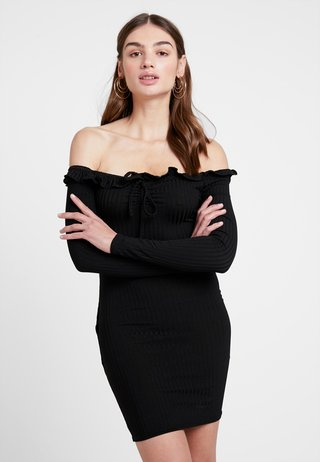 GO BARDOT TIE - Shift dress - black