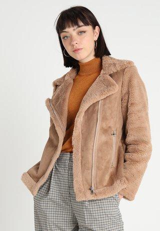 SLEEVE BIKER - Faux leather jacket - neutral