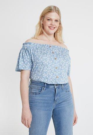 BUTTON THROUGH BARDOT - T-Shirt print - blue