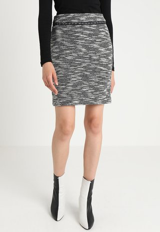 SKIRT STRETCH BOUCLEE - Falda de tubo - black/grey