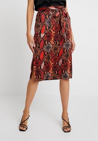 SNAKE PRINT MIDI - A-line skirt - burnt orange