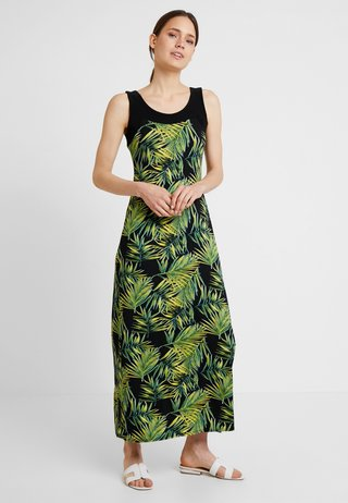 JUNGLE PALM BLOCKED DRESS MAY - Maksimekko - black