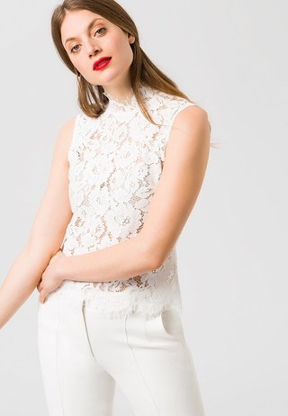 STAND-UP COLLAR - Blusa - white