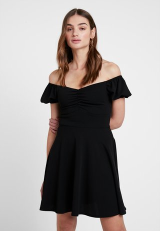 GO RUCHED FRONT MILKMAID - Jerseykleid - black