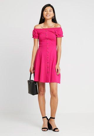PLAIN  BUTTON THROUGH BARDOT - Vestido camisero - pink
