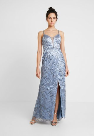 ALL OVER GLITTER CAMI MAXI WITH PLUNGE FRONT - Occasion wear - blue