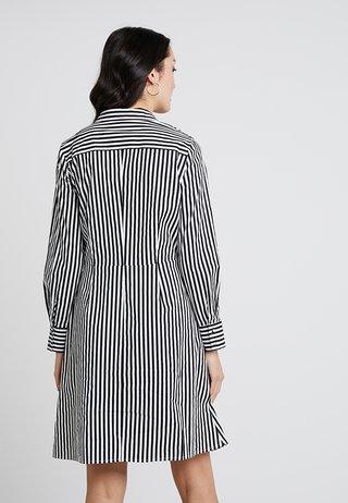 STRIPED DRESS - Vestido camisero - black/cream